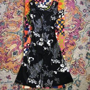 70's vintage black and white maxi dress